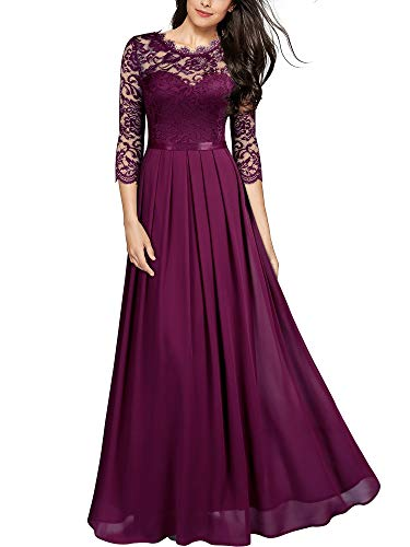 MIUSOL Damen Elegant Halbarm Rundhals Vintage Spitzenkleid Hochzeit Chiffon Faltenrock Langes Kleid Magenta S