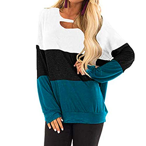 Hffan Damen Kontrastfarbe Pulli Pullover Rollkragen Sweatshirt Kapuzenpulli Top Hoodies