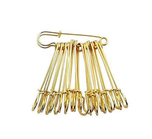 Evogirl Safety Pin Metal Gold Plated Seamless Hijab Saree Pin 4cm Golden, Small, for Women/Girls (Pack of 12)