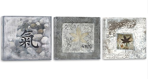 Feeby Frames, Cuadro en lienzo - 3 partes - Panorámico, Cuadro impresión, Cuadro decoración, Canvas 120x40 cm, SIGNO CHINO, PIEDRAS, HOJAS, ZEN, GRIS