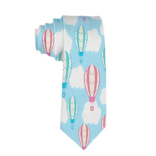 Anna-Shop mannen schattige ballonnen op hemelsblauw stropdas polyester zijde geweven jacquard stropdas voor mannen cadeau