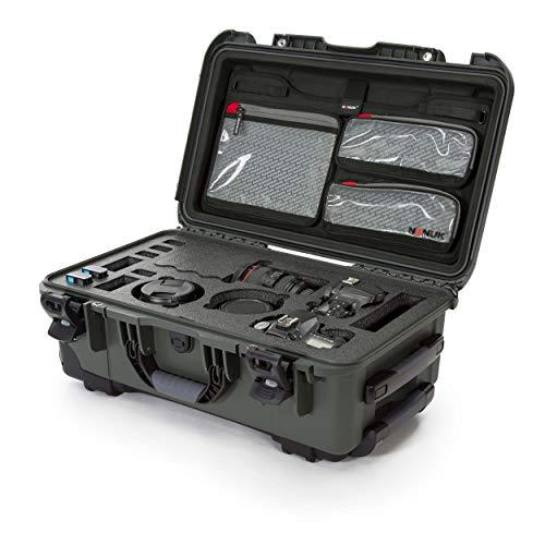 Nanuk 935 - Funda rígida Impermeable con Tapa Organizador e Inserto de Espuma para Canon, Nikon – 2 cámaras DSLR y Lentes – Color Verde Oliva