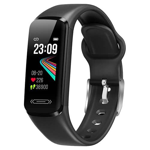 Fitness Armband Uhr, Smartwatch Wasserdicht IP68 Fitness Tracker mit Pulsmesser Blutdruckmessung Aktivitätstracker Schrittzähler DIY Hintergrund Kamerasteuerung Smart Watch Fitnessuhr für Damen Herren