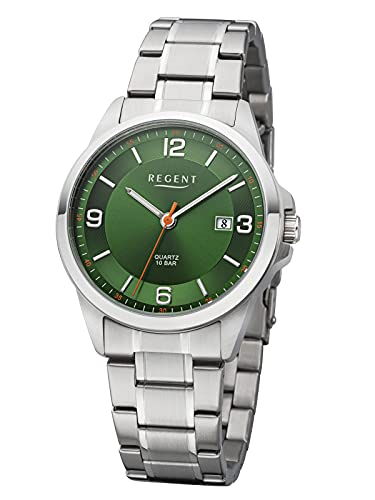 Regent Herren-Armbanduhr mit Stahlband Grün F-1289