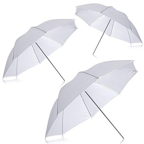"""Neewer Nueva Fotografía Profesional 33\""""83cm iluminación del Estudio reflexivo de Flash Translucent White Umbrella Suave (Cantidad: 3)"""