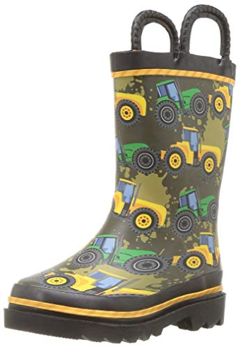 Western Chief Kids Waterproof Printed Rain Boot with Easy Pull On Handles, Tractor Tough, 8 M US Toddler