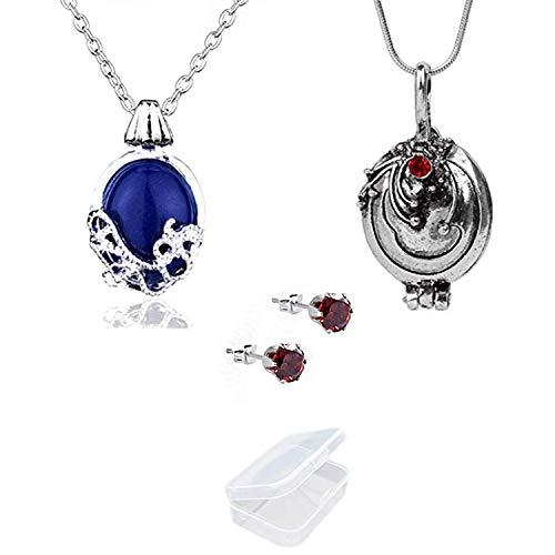 YouU Vampire Diaries Halskette von Katherine Pierce und Halskette von Elena Gilbert und Vampir-Medaillon Ohrringe, Esthers Geheimnis mit Aufbewahrungsbox(3 Stück)
