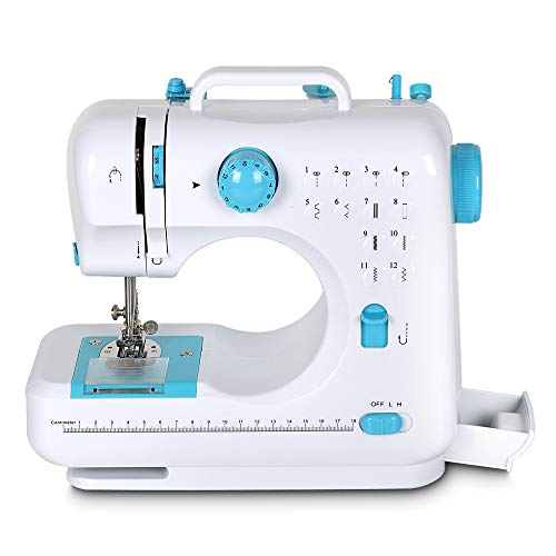 Mini Sewing Machine, Portable Multi-Purpose Crafting Mending Machine Household 12 Built-in Stitches & Double Thread for Beginners Blue