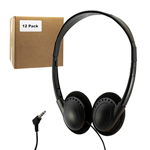 (12 Pack) Bulk Headphones for School Library Classroom Airplane Hospital Museum Hotel Tours Gym Students Adjustable Disposable Reusable Comfortable Compact and Easy to Store Headsets (12 Pack)