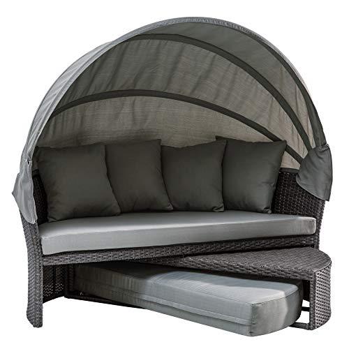 Invicta Interior Wandelbare Sonneninsel Playa Living M 165cm grau inkl. Kissen und drehbarer Sitzfläche Outdoor fähig Gartenmöbel Sonnenliege Gartenliege mit Dach wetterfest