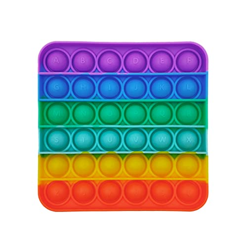 GreenBee Juguete Antiestrés Sensorial de Explotar Burbujas Push Pop Bubble Fidget Toy Herramientas para aliviar el estrés y la ansiedad para niños y Adultos (Arcoíris Cuadrado)