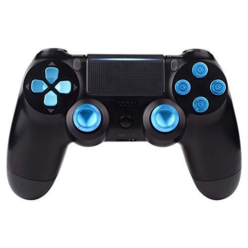 eXtremeRate Knöpfe Thumbsticks D-Pad Steuerkreuz aus Aluminium für Playstation 4 für PS4 Slim Pro Controller Set Bundle Munition Thumbsticks Bullets Tasten Kappen Zubehör(Blau)