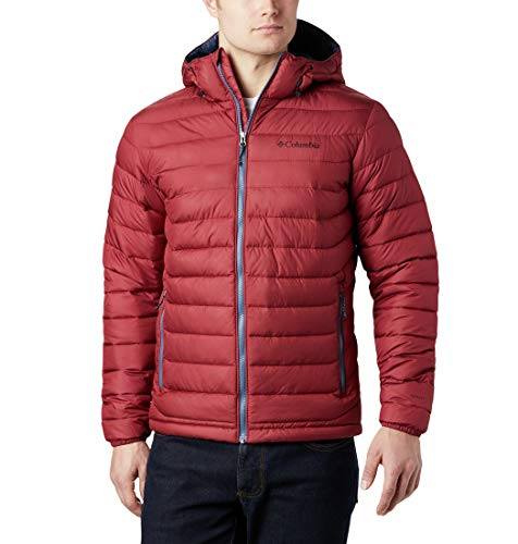 Columbia Herren Powder Lite Jacke mit Kapuze, Rot (Red Jasper), M