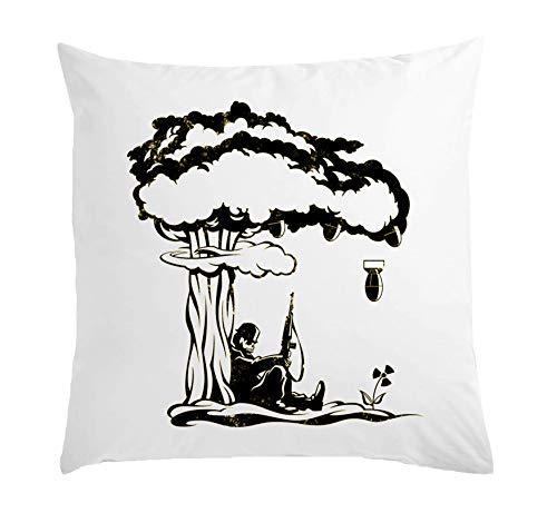 Atprints Nuclear Fallout Surrealistic Bomb Art Weißes Kissen 40x40cm