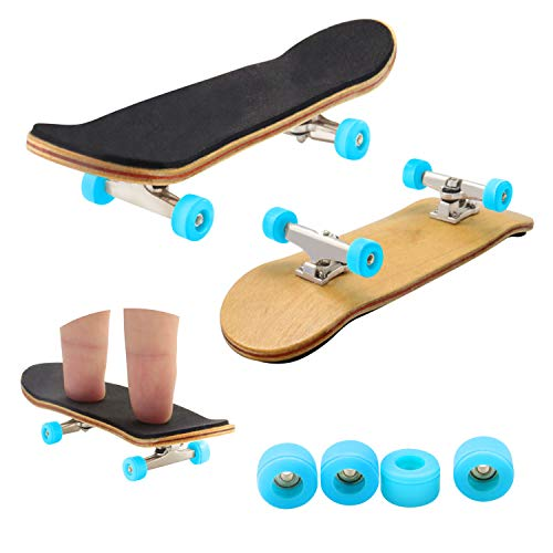 Bonici Maple Wood Finger Skateboard with PU Non-slip Pad and Professional Bearing Wheels by Bonici