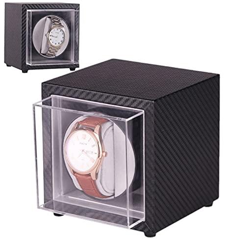 Caja De Reloj Automático para 1 Reloje, Estuche Vitrina para Relojes 5 Programas De Rotación, Ventana Acrílica, Aspecto Fibra De Carbon, Batería O Fuente De Alimentación (Negro)