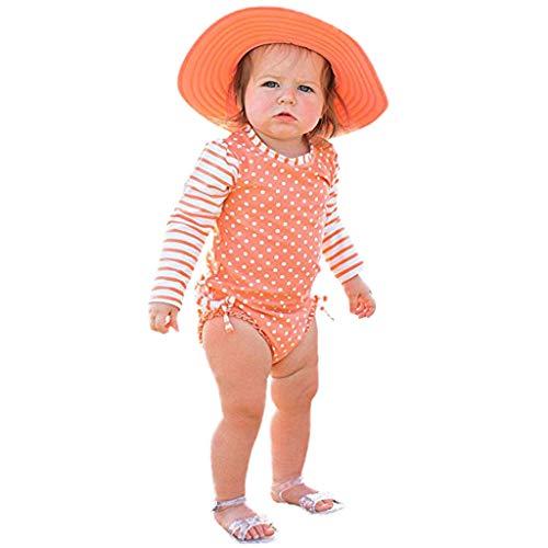 Bañador Protección Solar Traje de baño para Bebé Niñas, Bebes Niñas Infantil bañador de Natación Piscina Traje de baño Rayas Lunares de una Pieza Naranja 12-18 Meses