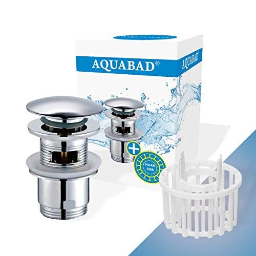 AQUABAD Click Clack CC32HS Ablaufgarnitur Set  Farbe: CHROM   für Waschbecken mit Überlauf   inkl. Haarsieb + Ersatz Dichtring   Kurzer Schaft, Deckelform: Rund