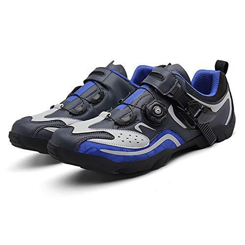 SHEHUIREN Radfahren Bike Schuhe Non-Slip tragen im freien Sportlich Fahrrad Schuhe komfortable rennrad Schloss Schuhe,Blau,38