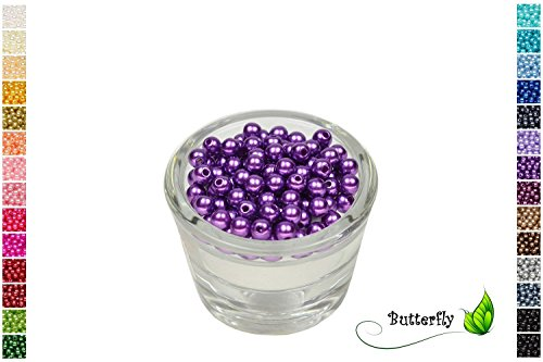 100 Perlen 6mm lila / purpur 465 // Kuststoff Bastelperlen Drahtsterne Wachsperlen Perlenkette