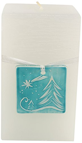 Magic Candle World Candles Natale candela con dipinto a mano Fusing Glass, vetro, bianco, 7.5x 7.5x 15cm
