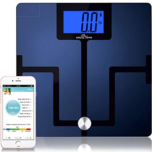 Sale!! Easy@Home Digital Bluetooth Body Fat Smart Scale with App for iOS and Android Mobile Devices,...