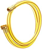 Solution4Patio Expert in Garden Creation #G-H153A09-US 5/8 in. x 10 ft. Yellow Garden Short Hose Male/Female Solid Brass Fittings for Hose Reel, Water Softener, Dehumidifier, RV, 5 Years Warranty