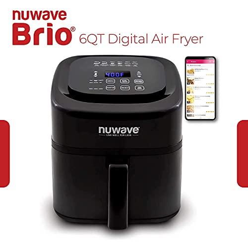 NuWave Brio 6-Quart Air Fryer with App Recipes (Black) includes basket divider,...