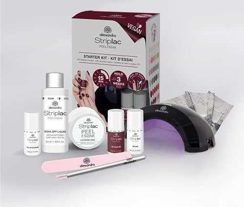 alessandro Striplac Peel or Soak -VEGAN- Starter Kit – LED-Nagellack Set – Velvet Red - Für perfekte Nägel in 15 Minuten