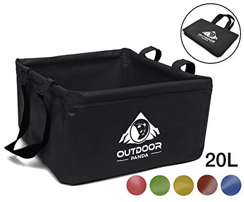 OUTDOOR PANDA: Outdoor Faltschüssel 20 Liter | Faltbare Camping Waschschüssel aus langlebigem Planen Gewebe | Platzsparende und leichte Alternative zur Plastik Spülschüssel und Spülwanne (Schwarz 20L)