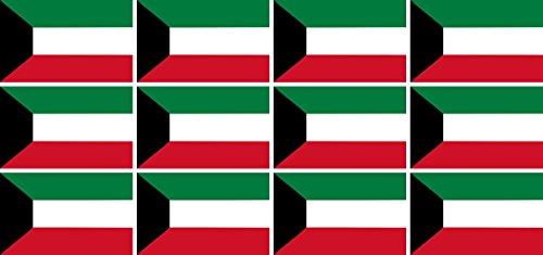 Mini Aufkleber Set - Pack glatt - 50x31mm - Sticker - Kuwait - Flagge - Banner - Standarte fürs Auto, Büro, zu Hause & die Schule - 12 Stück
