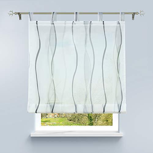 HongYa Raffrollo mit Wellen Druck Transparenter Voile Raffgardine Vorhang mit Schlaufen H/B 140/80 cm Weiß Silber