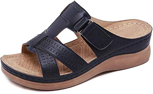 Sandalias de piel sintética con puntera abierta y tacón de cuña media para mujer, ligeras, suaves, cómodas y cómodas, azul marino, 38 EU