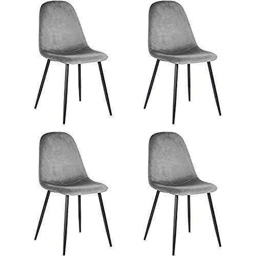 Juego de 4 sillas de Estilo escandinavo con Asiento y Respaldo recubiertas de Terciopelo Gris, Patas de Metal con Acabado en Negro, 44 x 53 x 86 cm