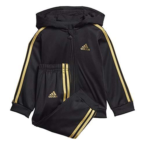adidas Unisex Kinder I Shiny Fz Hd J Trainingsanzug, Black/Goldmt, 104