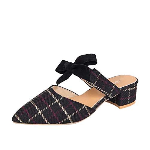 MRULIC Damen Mode Spitze Zehe Quadratische Ferse Müßiggänger Freizeitschuhe Sandale Schuhe Arbeitsschuhe(Schwarz,EU-34/CN-35)