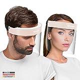 HARD 2x Pro visor Visiera protettiva, Certificato medico, Schermo facciale di sicurezza Antinebbia Face Shield, Prodotto in Germania, Adulti - Nero/Beige