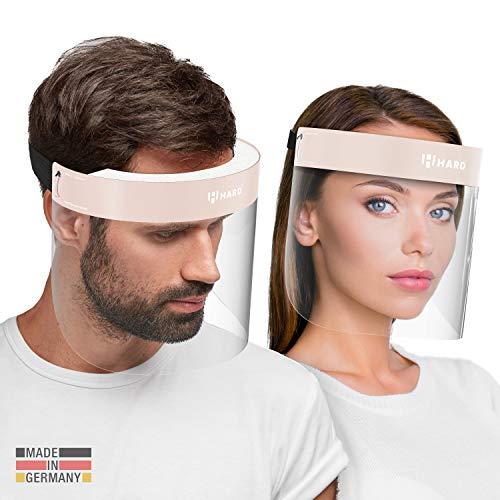 HARD 1x Pro visor Visiera protettiva, Certificato medico, Schermo facciale di sicurezza Antinebbia Face Shield, Prodotto in Germania, Adulti - Nero/Beige