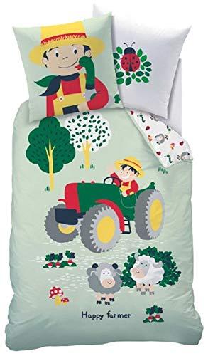 Matt&Rose Traktor Bettwäsche Trecker Happy Farmer 135 x 200 cm 80 x 80 cm