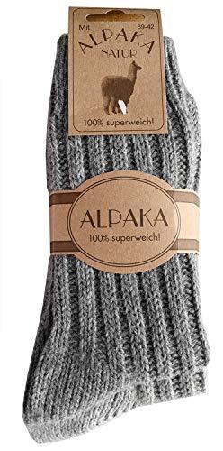 dunaro 2 Paar Alpaka Socken Wollsocken besonders kuschelig warm für Damen Herren (2 Paar / 43-46 Dunkelgrau-Grau)