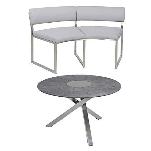 Zebra Gartenmöbel-Set Tisch Oryx Ø135 cm mit Sela-Tischplatte und 2X Bank Oryx Platin