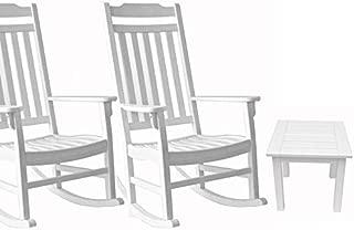 Outdoor Rocking Chair 3 Piece Set, World's Finest - White