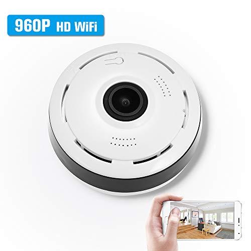 OWSOO Fischauge Kamera Panorama 960P drahtlose Mini WiFi 360 Grad 1.3MP IP Kamera IR Lampe Nachtsicht IR-Cut für Android/IOS APP Fernbedienung Bewegungserkennung, mit USB-Kabel ohne Netzteil