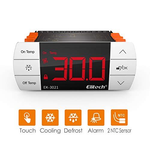 Elitech UEK3021 digitale aanraakknop temperatuurregelaar/thermostaat koeling en ontdooien twee sensors/sondes 【1 jaar garantie】