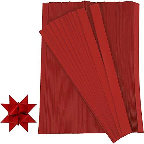 Creativ Company 20932 Papierstreifen zum Falten von Sternen, 500 Stück, Rot
