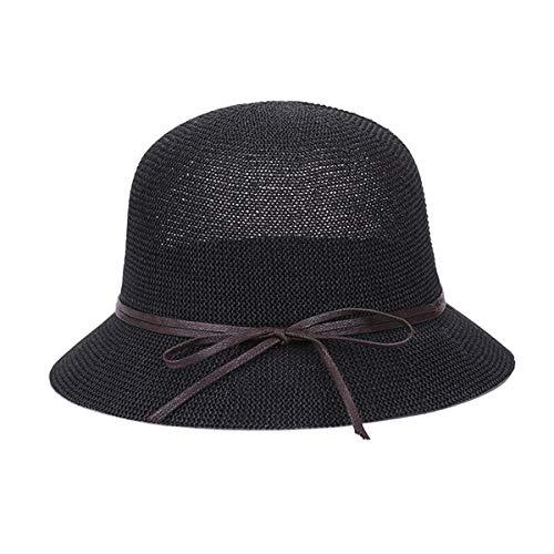 Sombrero Cloche de Paja Trenzado de Paja para Mujer Sombrero de Verano Casual Cubo Sombrero clásico para Sol Sombrero de Sol (Color : Black, Tamaño : One Size)