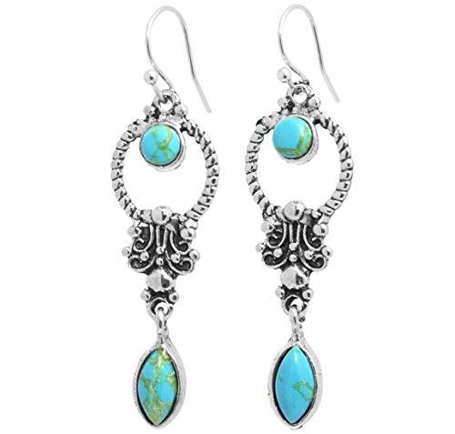 2LIVEfor Tropfenohrringe Türkis Blau Ethno Tropfen verziert Tibet blaue Ohrringe Bohemian Vintage Ohrringe Hängend Antik Style Silber Türkise Ohrhänger Ornamente