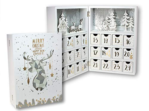 Spetebo Holz Adventskalender Buch mit 24 Boxen - 30 cm - Weihnachtskalender zum befüllen