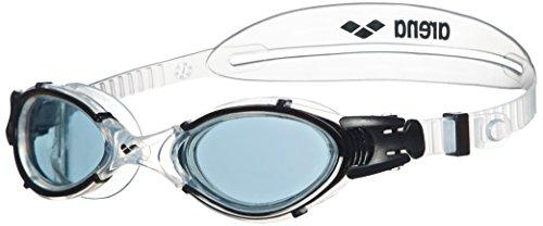 arena Unisex Training Freizeit Schwimmbrille Nimesis Crystal Large (UV-Schutz, Anti-Fog Beschichtung), Smoke-Clear-Black (55), One Size