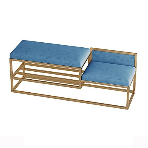 ZQQFR Banco zapatero con cojín de esponja, banco de 2 niveles, zapatero con asiento, reposapiés, armario, tubo de acero inoxidable acolchado para entrada, pasillo (azul, 80 x 35 x 45 cm)